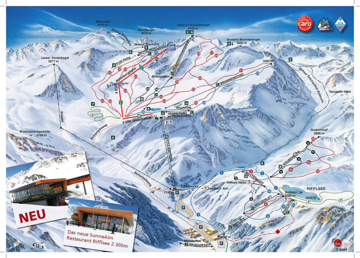 pitztal glacier ski trail map. free download