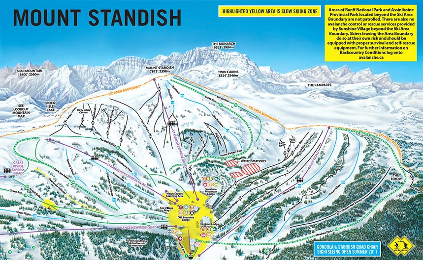 Map Of Canada Banff.Sunshine Village Ski Trail Map Free Download
