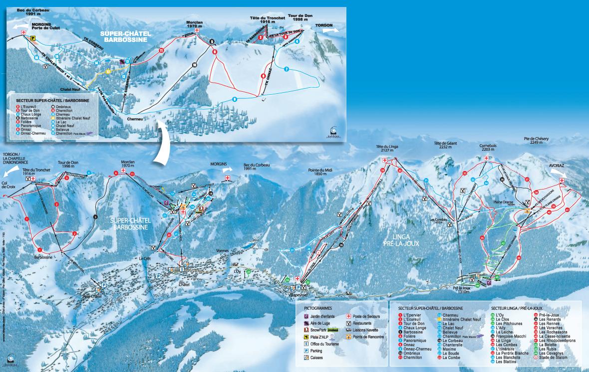 Chatel ski trail map free download - Plan piste porte du soleil ...