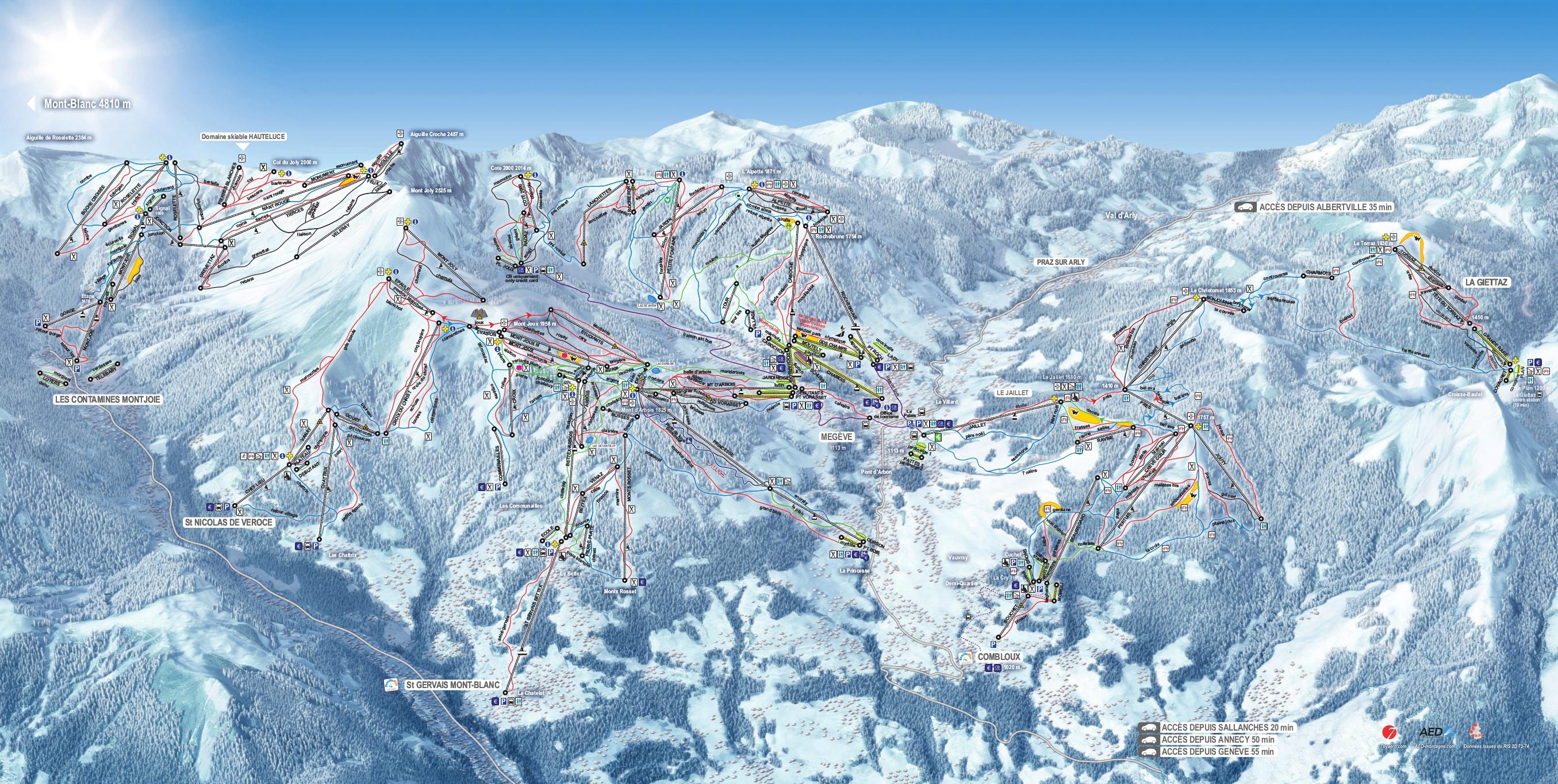 Mont Blanc France Map.Evasion Mont Blanc Ski Map Free Download