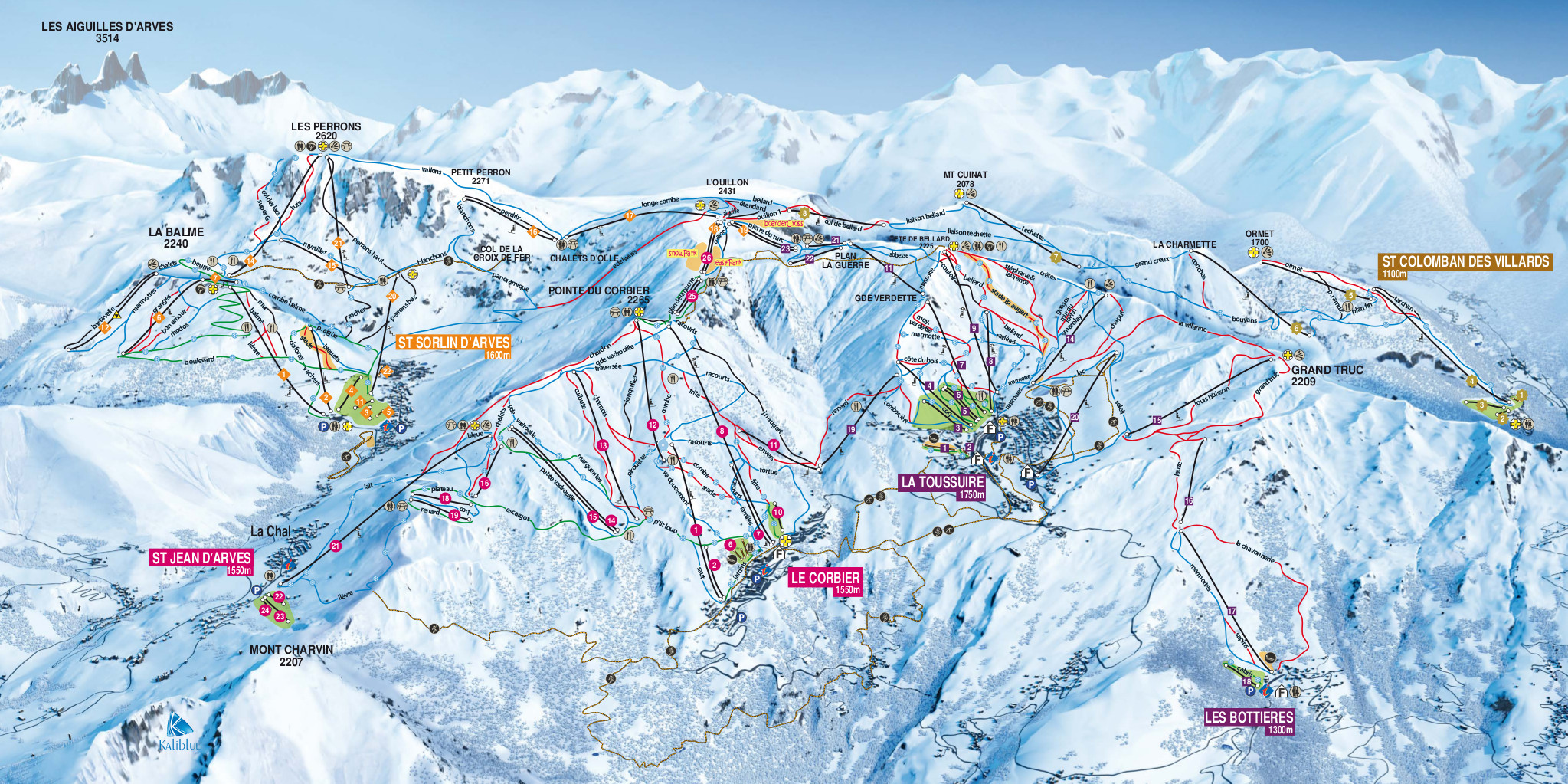 Saint Jean dArves Ski Map