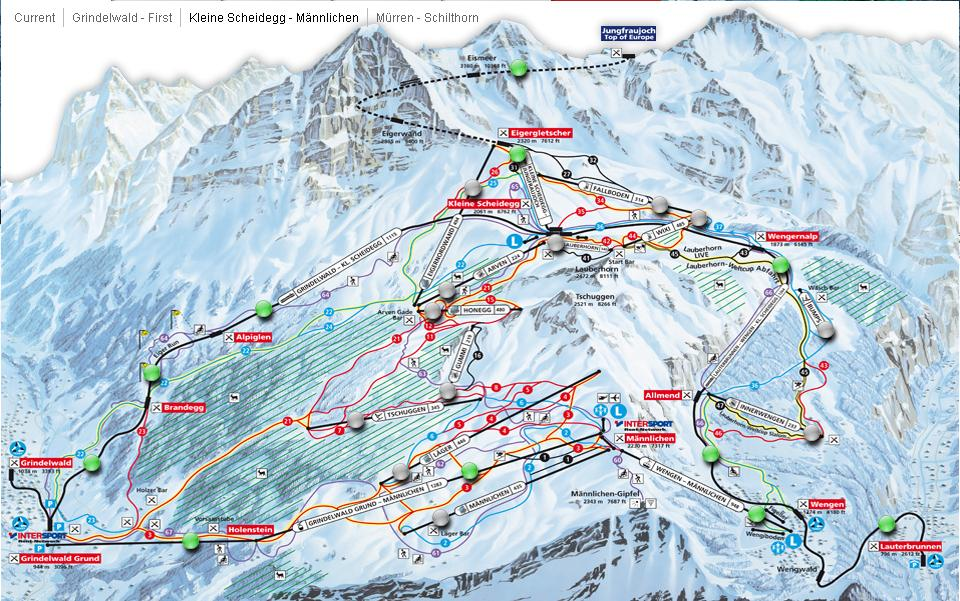 Wengen Switzerland  city photo : Free, downloadable Wengen Ski Maps .
