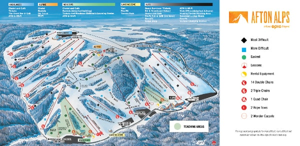 Afton Alps Ski Resort Ski Trail Map