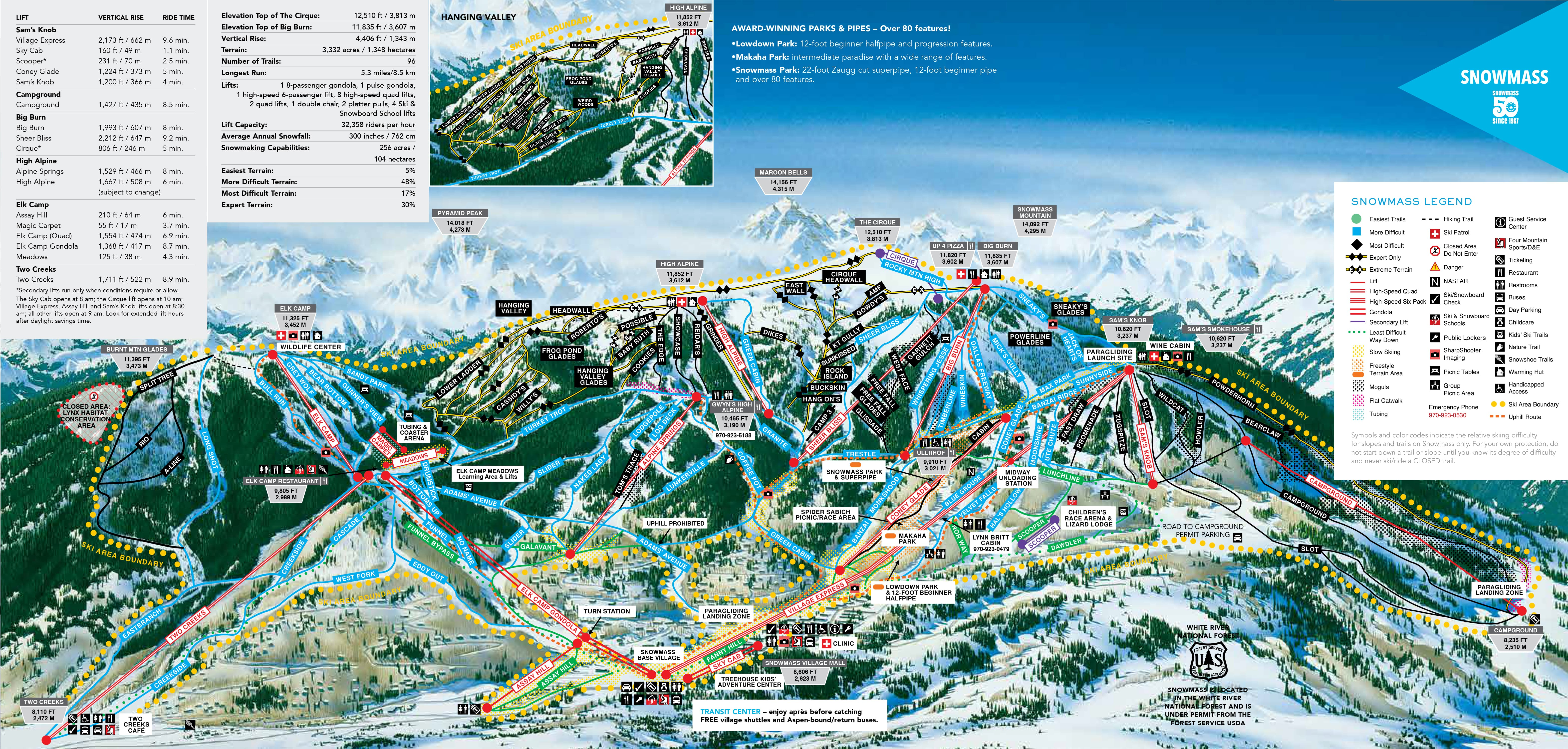 Aspen Snowm Ski Trail Map Free Download on