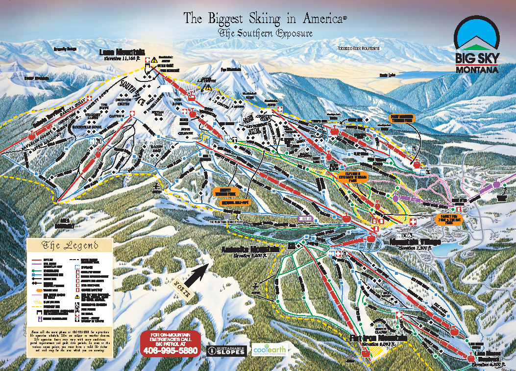 Big Sky Montana Ski Map  Beautiful Scenery Photography