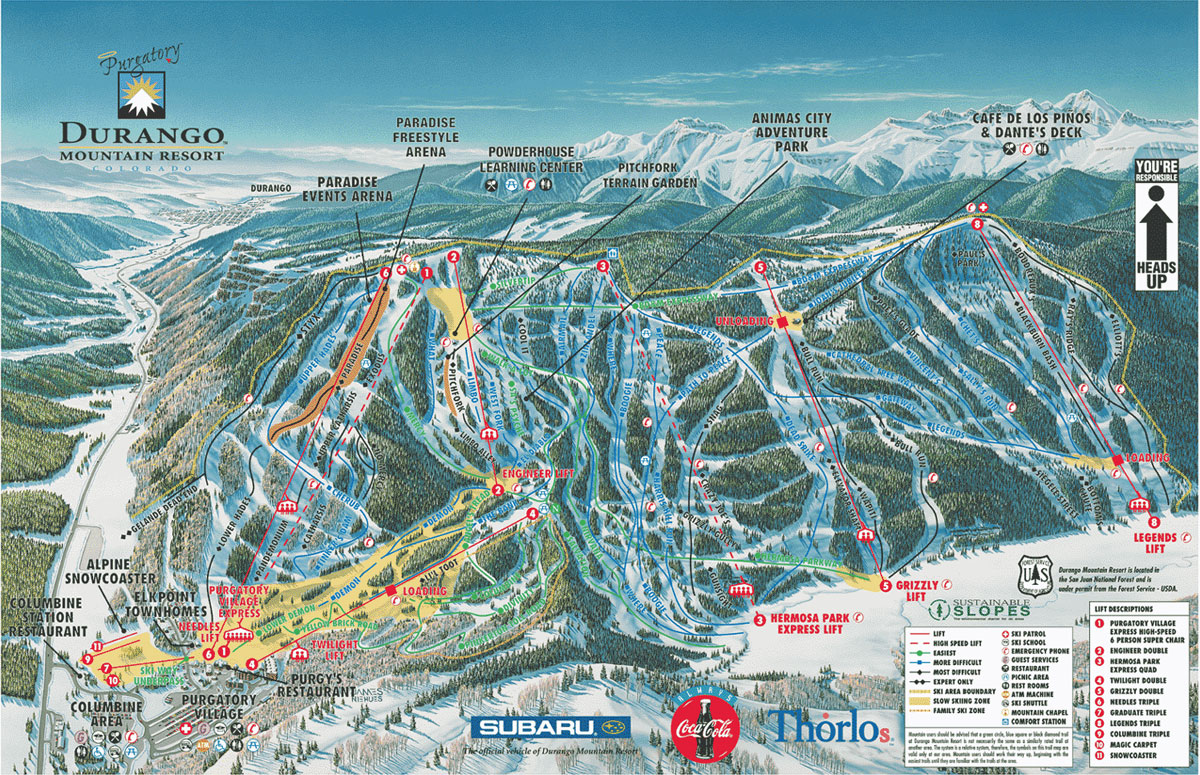 Durango Ski Map Free Download - Map of colorado ski resorts and cities
