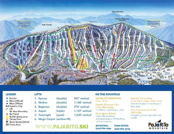 Ski In New Mexico Map.Pajarito Ski Trail Map Free Download