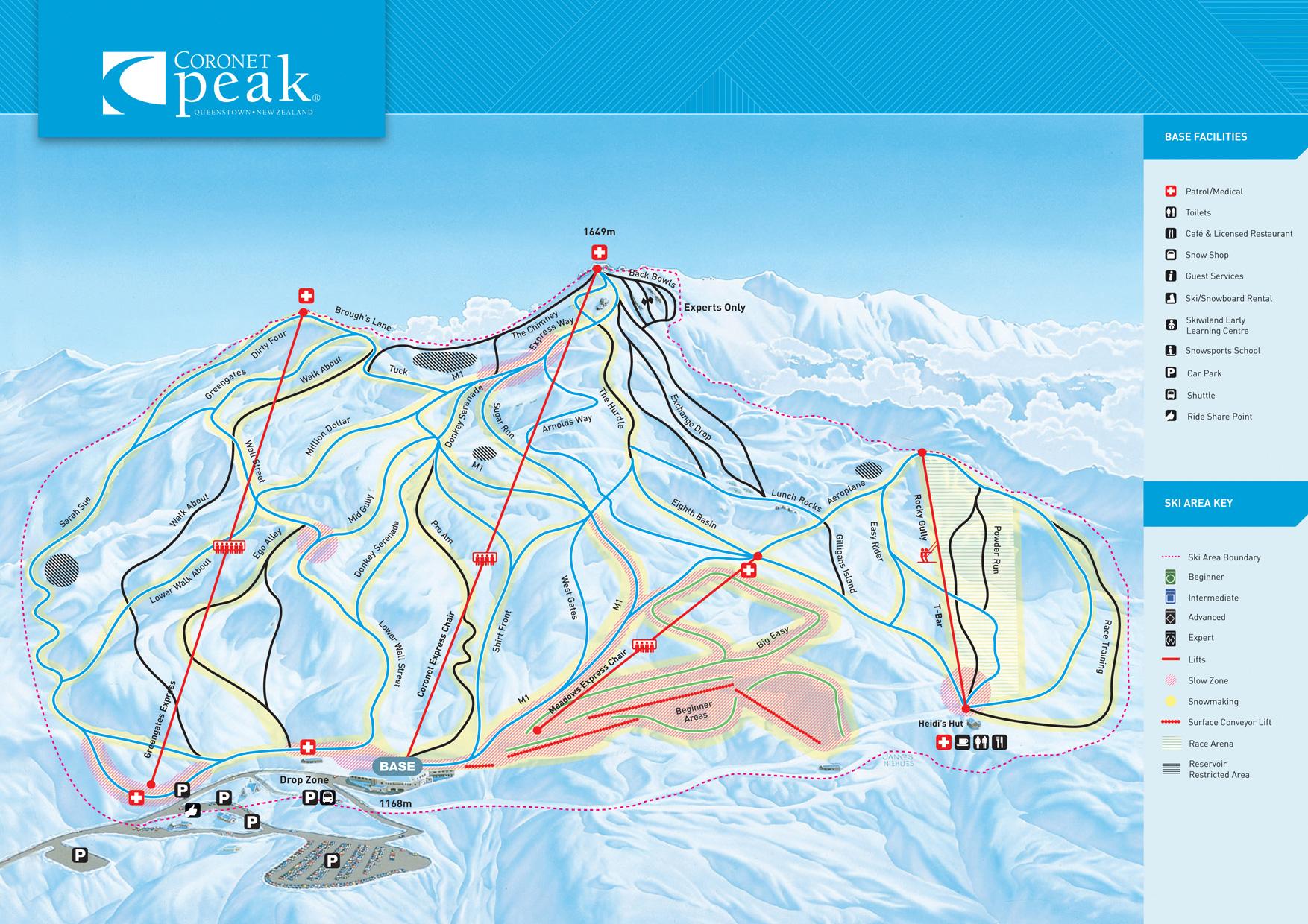 Coronet peak ski map free download ski map downloads gumiabroncs Image collections