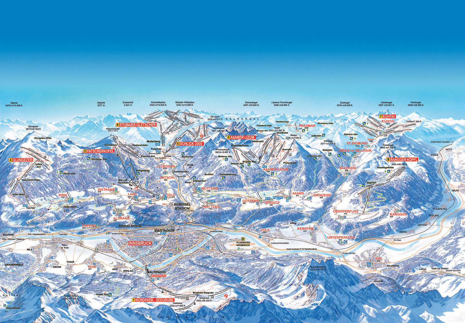 Innsbruck Ski Resort Ski Map
