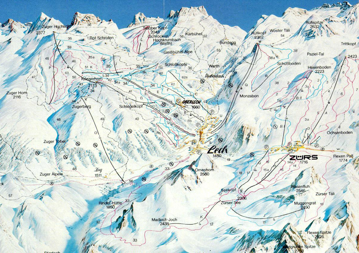 Lech Piste Map Lech Ski Map Free Download Lech Piste Map
