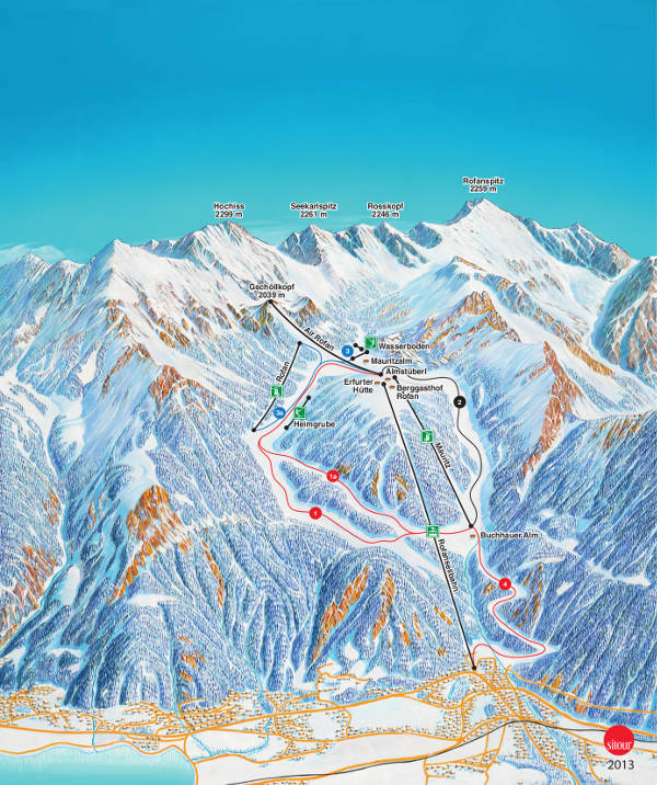 Rofan Ski Trail Map