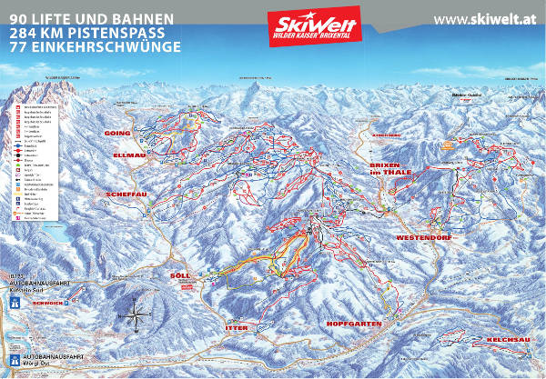 Skiwelt Ski Resort Ski Map