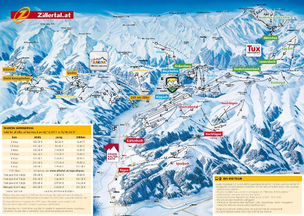 Zillertal Ski Trail Map