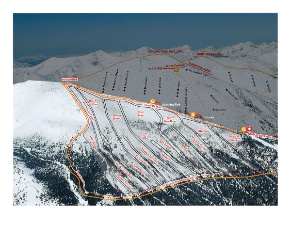 Castle Mountain, Cat Skiing Trail Map
