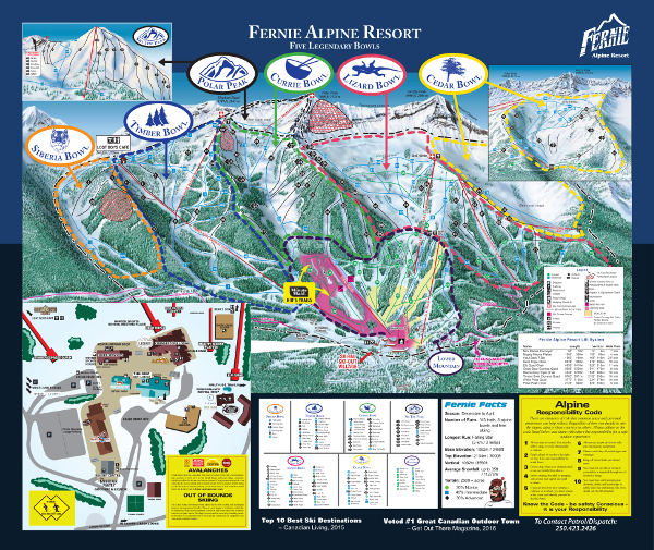 Fernie Ski Resort Ski Trail Map
