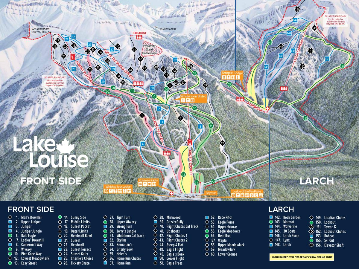 Lake Louise Map Lake Louise Ski Map Free Download