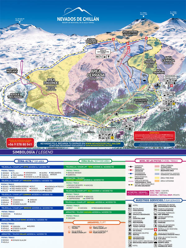 Nevados Ski Trail Map