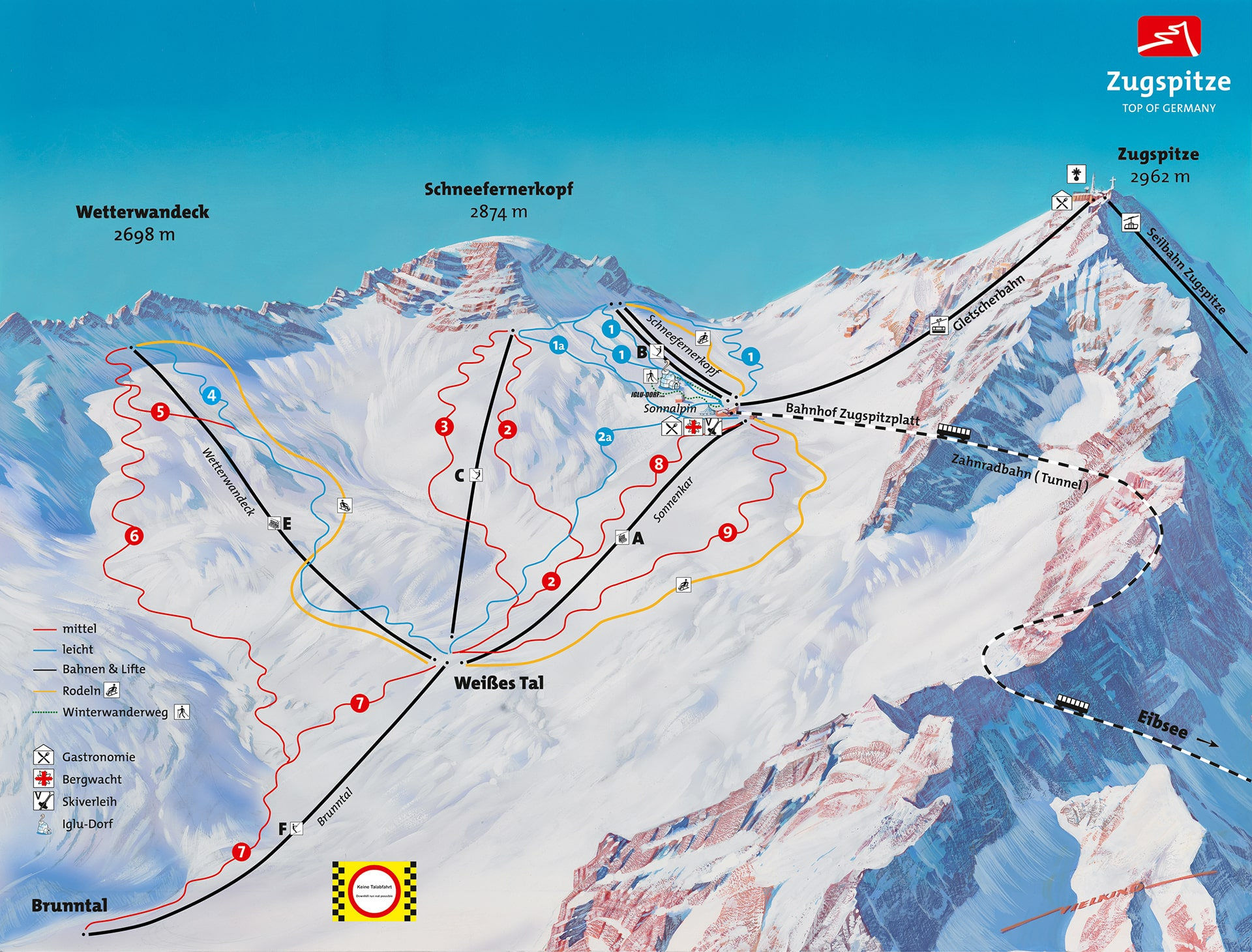 Zugspitze Ski Resort Ski Trail Map