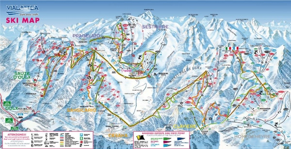 Vialattea Ski Trail Map