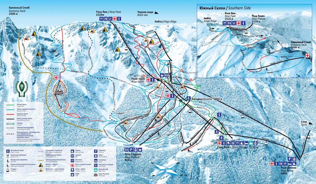 Rosa Khutor Sochi Ski Trail Map Free Download