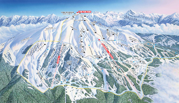 Big Sky, South Face Ski Resort Ski Trail Map