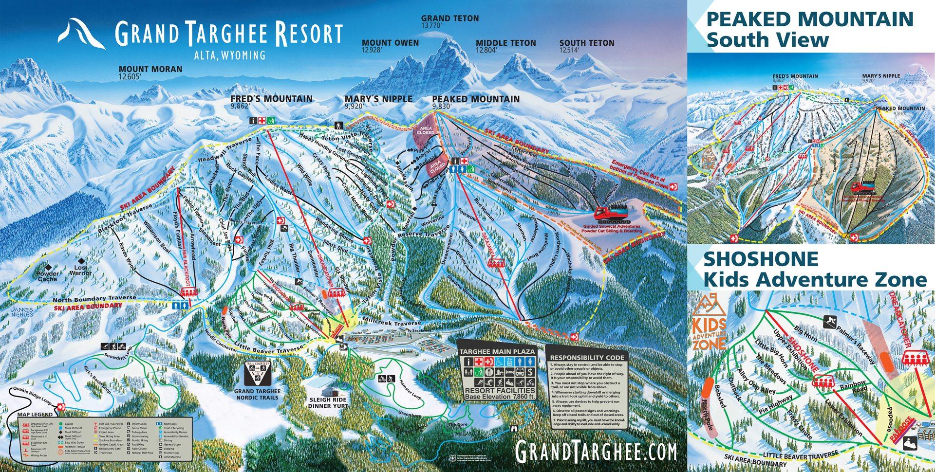 wyoming ski resorts map Grand Targhee Wyoming Ski Trail Map Free Download wyoming ski resorts map