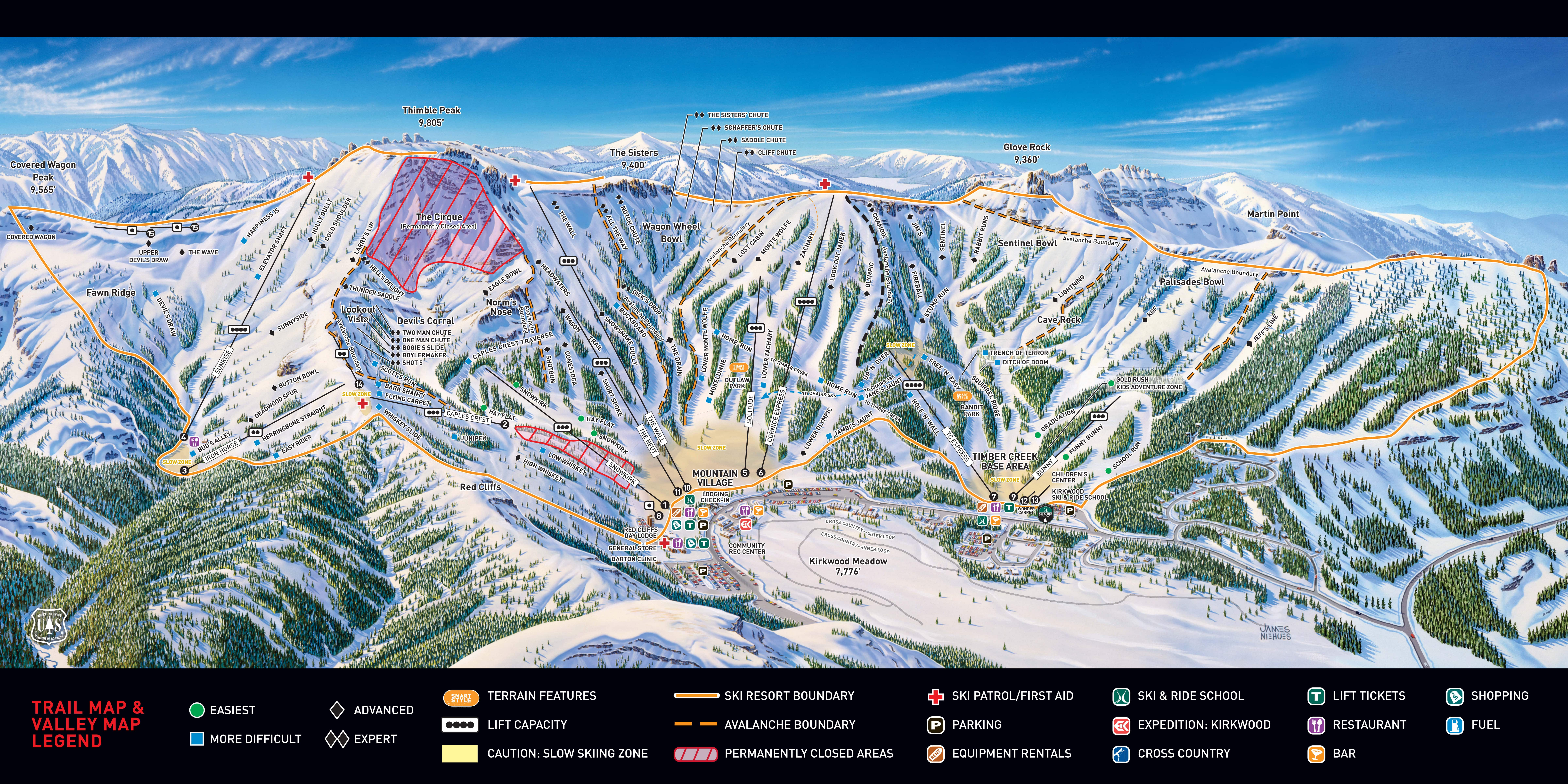 lake tahoe piste map Kirkwood Lake Tahoe Ski Trail Map Free Downloadable Piste Maps lake tahoe piste map