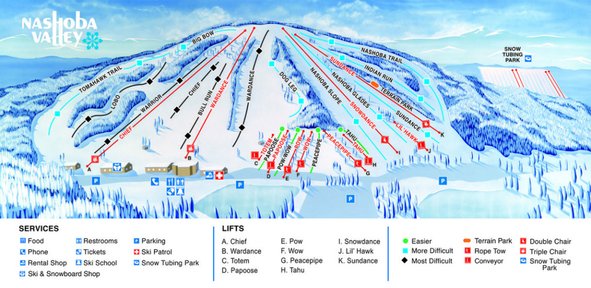 Nashoba Ski Resort Ski Trail Map