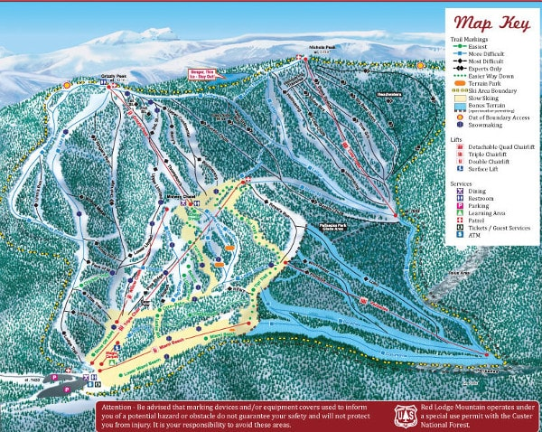 Red Lodge Mountain Resort Ski Trail Map