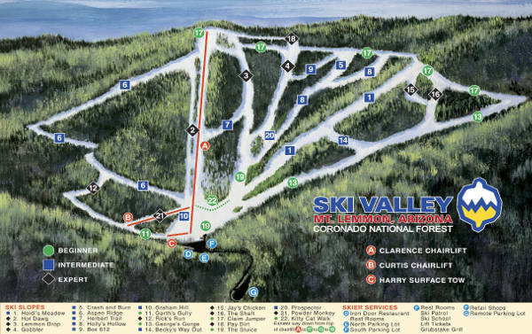 Ski Valley Mount Lemmon Ski Trail Map